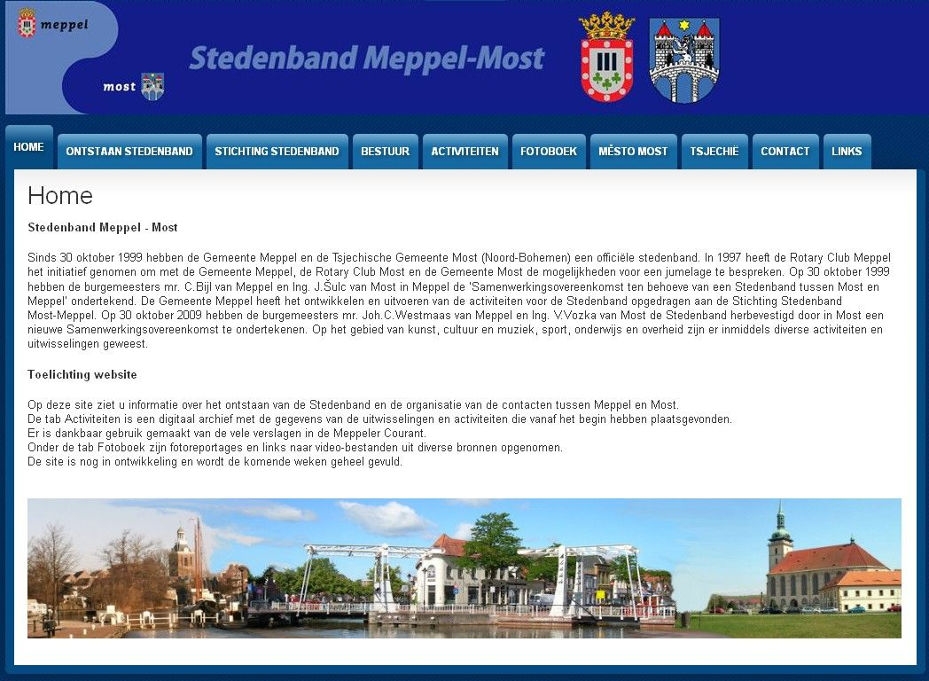 afbeelding homepage website stedenband meppel-most